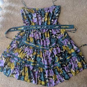 Floral flowy dress, strapless